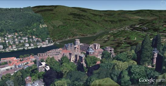 Heidelberg Castle from the South West Google Earth 3D buildings view.  With some pruning, it might be possible to open up a real view as spectacular as this.