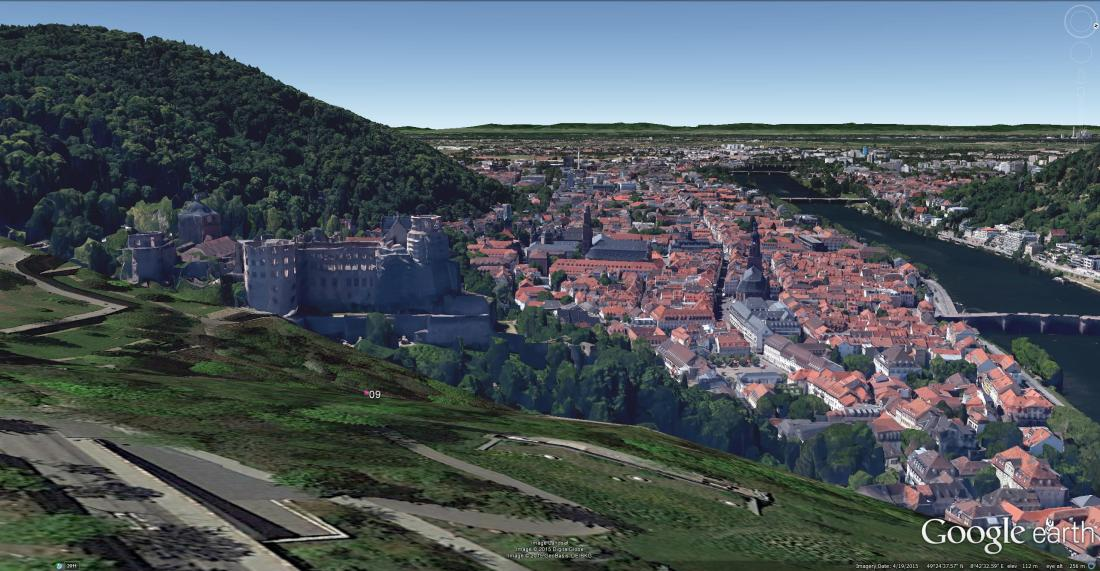 Heidelberg Castle from the East Google Earth 3D buildings view.  Again, a site worth considering with a view to pruning.