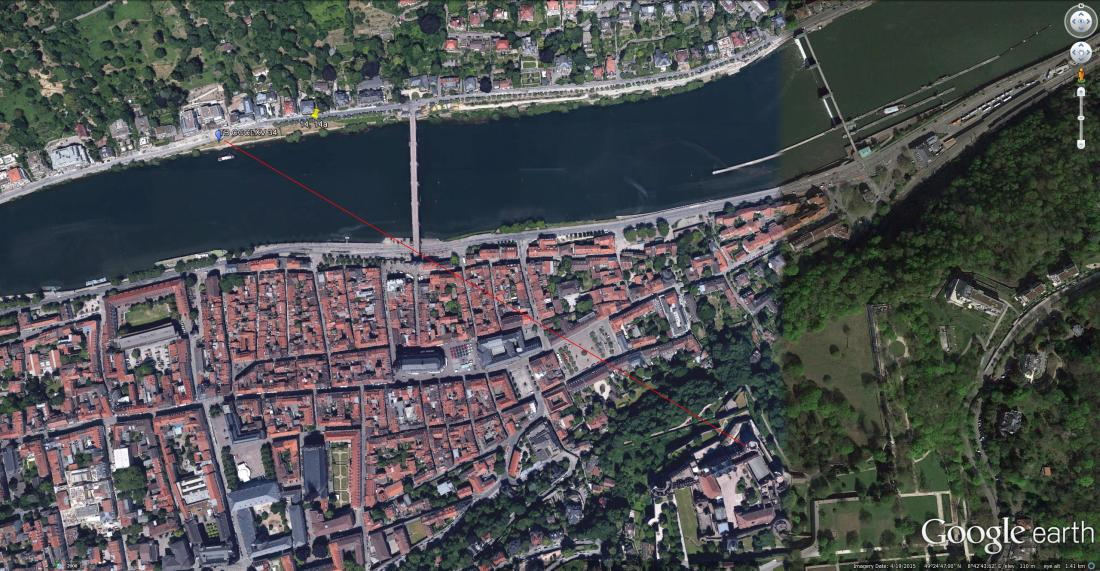 Heidelberg: Google Earth Aerial View Showing the line of sight from the Octagonal Tower of Heidelberg Castle, past the bridge towers to viewpoint of Turner's colour study. Turner was always acutely sensitive to the nuances of parallax that identified his exact point of view. The consistency and accuracy of such alignments are effectively his certificate of authenticity. The evidence that he has actually been there. This image is best viewed at full-size. Click on the image to enlarge and use your browser's 'back' button to return to this page.
