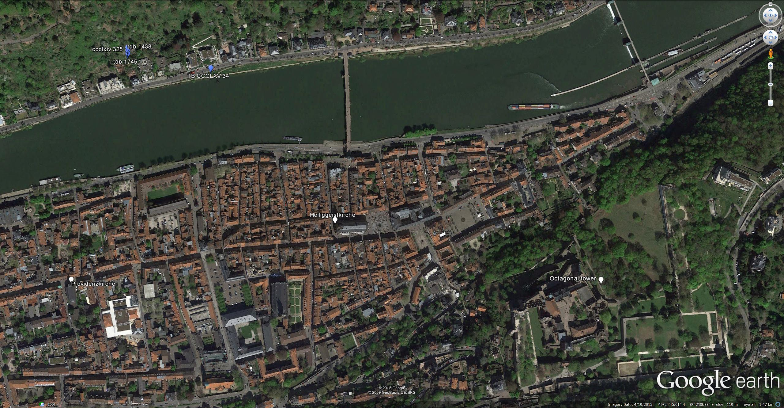 Google Earth: Heidelberg Aerial View Showing viewpoint of three on-the-spot sketches, plus that of the 1841-2 watercolour. The identification of these subjects as Heidelberg has proved less than straightforward, but I feel convinced that Turner's new viewpoint is a little further downstream, and slightly higher up, since the relation between the castle and church is consistent with a downstream viewpoint and the lantern of the spire of the Heiliggeistkirche is on a level with the top of the castle, suggesting a level forty or fifty feet above the river. This exact viewpoint is no longer accessible, being behind the houses on the Neuenheim Landstrasse, but it is not so very much higher than the road, and nowhere as high as the famous strolling route the Philosophenweg, which cuts across the slope here high above the river.  This image is best viewed at full-size. Click on the image to enlarge and use your browser's 'back' button to return to this page.