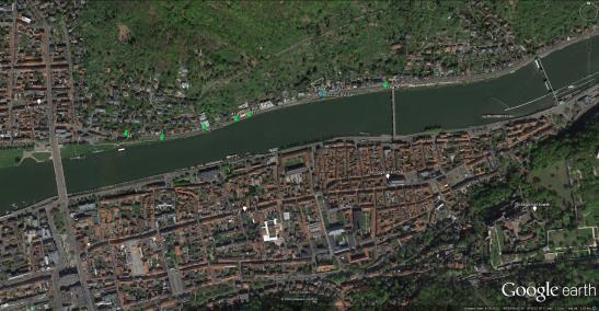 Heidelberg: Google Earth Aerial View Marking the viewpoints of Turner's 1841 sketches and the watercolour made for Prior. This image is best viewed at full-size. Click on the image to enlarge and use your browser's 'back' button to return to this page.
