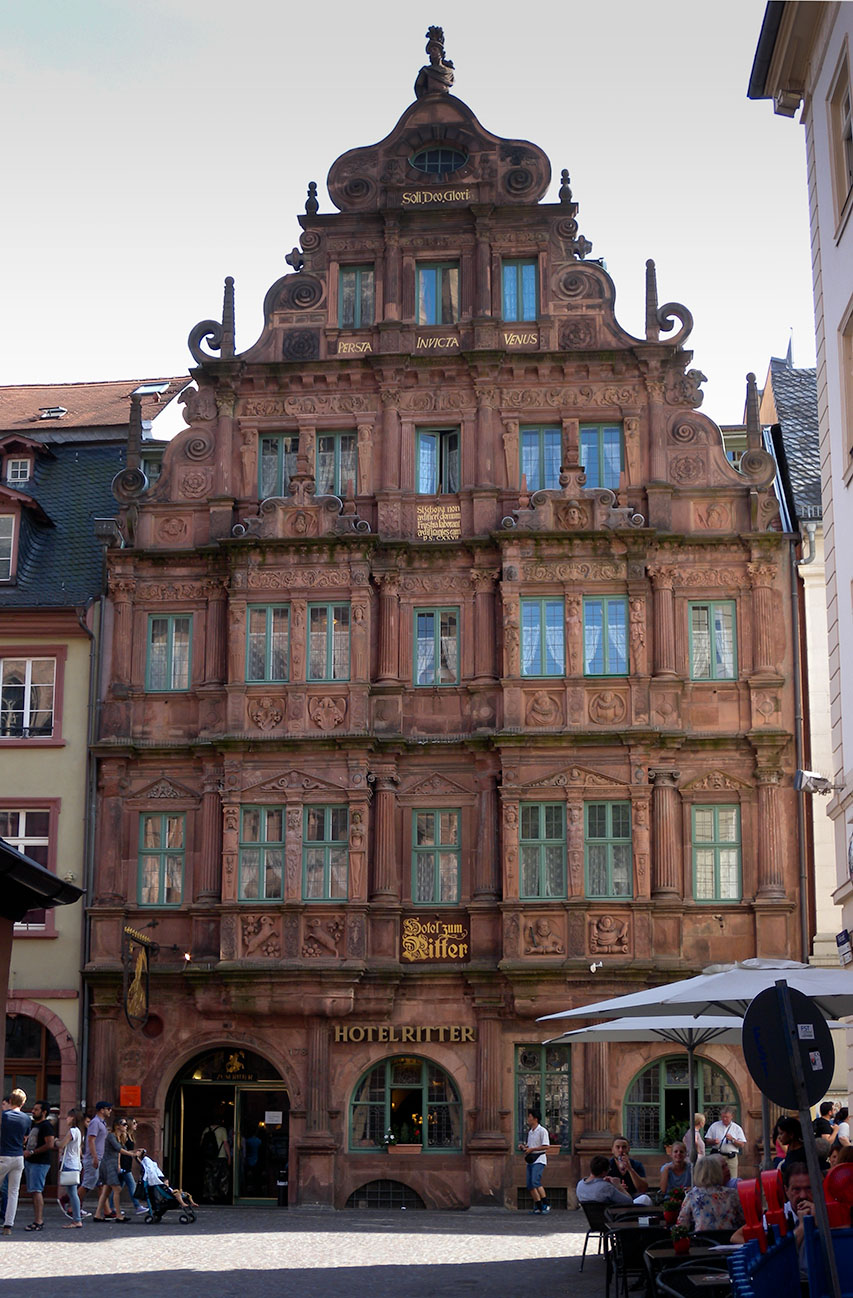 Heidelberg: Hotel Ritter Photograph by David Hill taken 27 August 2015, 14.21 GMT. The Hotel Ritter is one of the view Renaissance buildings to have survived unscathed at Heidelberg. The fact that Turner gave it some prominence seems to suggest some attachment to it, and perhaps he had stayed there on a previous visit, thou we know that in 1844 he was staying at the Prinz Carl further down the High Street.
