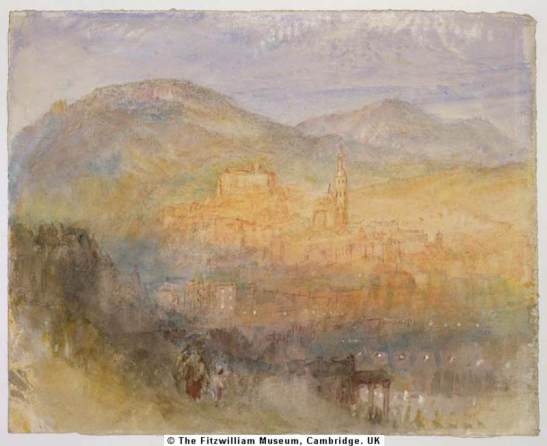 J M W Turner Heidelberg Sunset Study #2, c.1841  Watercolour and pen and ink on white paper, 236 x 295 mm, 9 1/4 x 11 5/8 ins  Cambridge, Fitzwilliam Museum.  (2284; Cormack 51) as 'Heidelberg from the opposite bank of the Neckar'  Photograph courtesy of the Fitzwilliam Museum To view this image in the Fitzwilliam Museum's own website, click on the following link, and use your browser's 'back' button to return to this page. http://www.fitzmuseum.cam.ac.uk/gallery/friends/exhibits/turner_heidelberg.htm