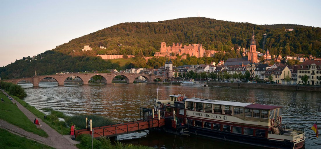 Heidelberg Bridge, Castle and Town from the north bank of the Neckar Photograph by David Hill taken 25 August 2015, 18.02 GMT The exact viewpoint of the colour-beginning and watercolour commissioned by Thomas Abel Prior