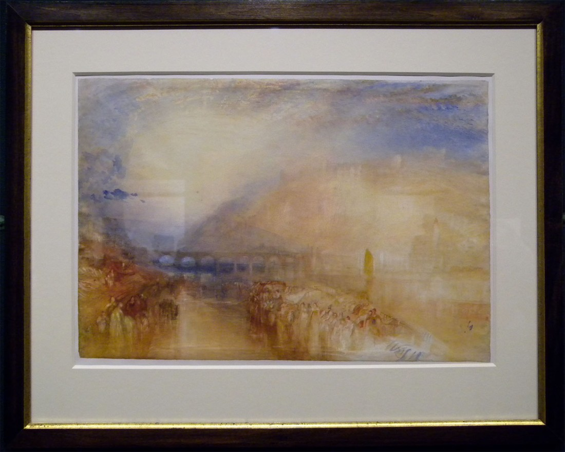 J M W Turner Heidelberg, c.1842 Watercolour, 374 x 553 Edinburgh, National Gallery of Scotland, Vaughan Bequest, D NG 885 Photograph by David Hill, courtesy of National Gallery of Scotland. This was taken by available light and has some reflections in the glass, but despite that gives the tonality and colour quite faithfully.