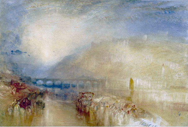 J M W Turner Heidelberg, c.1842 Watercolour, 374 x 553 mm Edinburgh, National Gallery of Scotland, Vaughan Bequest, D NG 885 This watercolour was bequeathed to the National Gallery of Scotland in 1900 by the collector Henry Vaughan. We know almost nothing about its prior history. One condition of Vaughan's Bequest is that the watercolours never be lent and only be shown in January. The current consensus dates it to about 1846, but I propose an earlier date in what follows below. Photograph courtesy of National Gallery of Scotland.