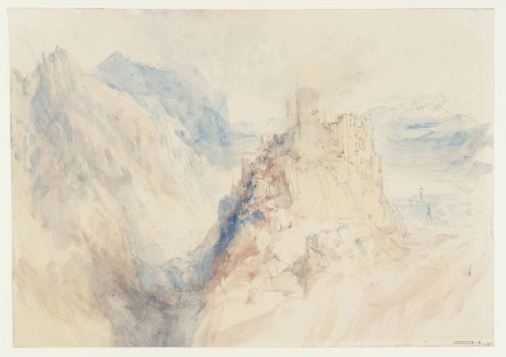 J M W Turner A Castle in the Mountains, 1841? Pencil and watercolour on paper, 227 x 325 mm A page from the 'Mountain Fortress' sketchbook', Tate D33653.Turner Bequest CCCXXXIX 01 Tate Britain, London Photo courtesy of Tate. To view this image in Tate's own catalogue of the Turner bequest, click on the following link, and use your browser's 'back' button to return to this page. http://www.tate.org.uk/art/artworks/turner-a-castle-in-the-mountains-d33653