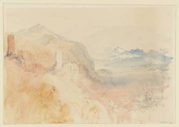 J M W Turner An ?Alpine Castle, 1841? Pencil and watercolour on paper, 227 x 325 mm A page from the 'Mountain Fortress' sketchbook', Tate D33654.Turner Bequest CCCXXXIX 02 Tate Britain, London Photo courtesy of Tate. To view this image in Tate's own catalogue of the Turner bequest, click on the following link, and use your browser's 'back' button to return to this page. http://www.tate.org.uk/art/artworks/turner-an-alpine-castle-d33654