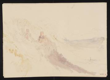 J M W Turner Ruined Castle on Rock, with Town in Valley Below, 1841? Pencil and watercolour on paper, 227 x 325 mm A page from the 'Mountain Fortress' sketchbook', Tate D33662.Turner Bequest CCCXXXIX 10 Tate Britain, London Photo courtesy of Tate. To view this image in Tate's own catalogue of the Turner bequest, click on the following link, and use your browser's 'back' button to return to this page. http://www.tate.org.uk/art/artworks/turner-ruined-castle-on-rock-with-town-in-valley-below-d33662