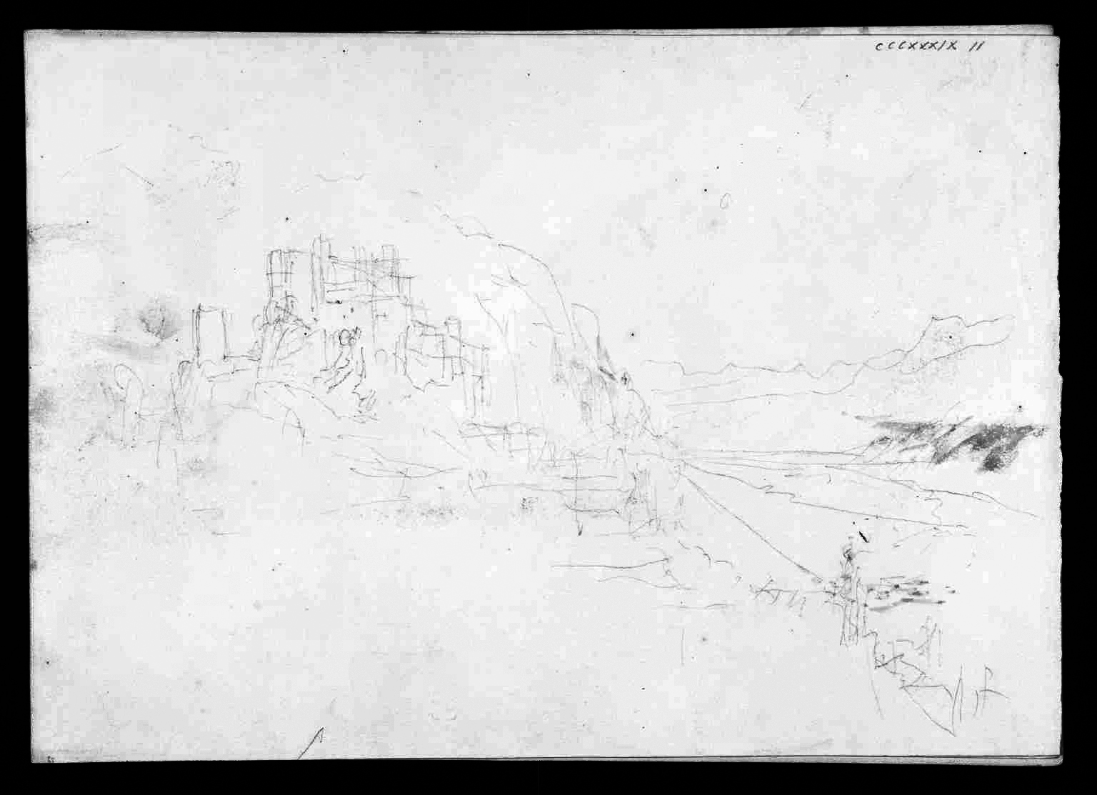 J M W Turner Ruined Castle, with Mountains, 1841?c Pencil with slight touches of watercolour on paper, 227 x 325 mm A page from the 'Mountain Fortress' sketchbook', Tate D33664.Turner Bequest CCCXXXIX 11 Tate Britain, London Self-evidently related to the painting called 'Heidelberg'. But of somewhere else altogether. Photo courtesy of Tate. To view this image in Tate's own catalogue of the Turner bequest, click on the following link, and use your browser's 'back' button to return to this page. http://www.tate.org.uk/art/artworks/turner-ruined-castle-with-mountains-d33664