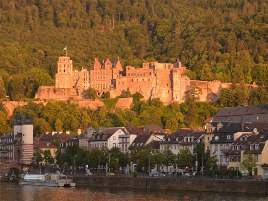 Heidelberg Castle from the south east Photograph by David Hill, taken 25 August 2015, 17.56 GMT The castle in the painting does, however, bear some resemblance, at least in general massing to Heidelberg castle as seen from the south west. The similarity almost certainly licensed the identification. Turner painted this aspect in his watercolours of Heidelberg but no-one has questioned its incompatibility with a view down the valley.