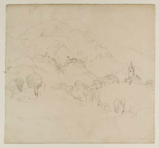 J M W Turner L'Eglise in the Val d'Aosta, with Quart castle beyond, 1836 Graphite on paper, 261 x 278 mm Tate Britain, London, D34881, Turner Bequest CCCXLIV 389 Photograph by David Hill, courtesy of Tate To view this image in Tate's own catalogue of the Turner bequest, click on the following link, and use your browser's 'back' button to return to this page. http://www.tate.org.uk/art/artworks/turner-leglise-in-the-val-daosta-with-quart-castle-beyond-d34881