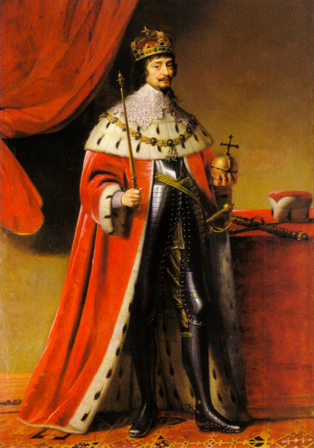 Gerard van Honthorst 1590-1656 Portrait of Frederick V, Elector Palatine, 1634 Oil on canvas Heidelberg, Kurpfalzisches Museum  Image source: https://commons.wikimedia.org/wiki/File:Gerard_van_Honthorst_006.jpg Apart from the fact that Frederick here wears royal robes, he has nothing in common with the Renaissance type that Turner includes in the painting. The seventeenth century preferred fancy lace collars, and length and elegance in both physique and facial hair.