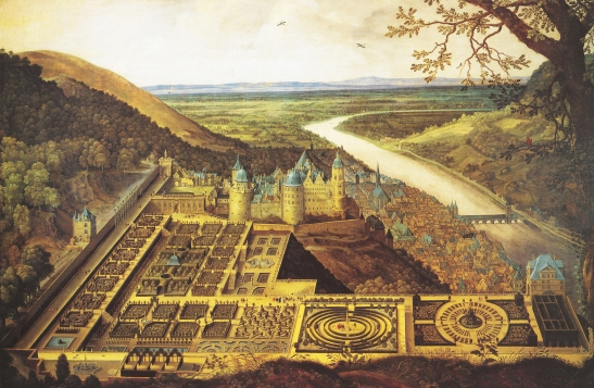 Jaques Fouquiere (1591-1659) Heidelberg Castle and the Hortus Palatinus, c.1620 Oil on canvas, 179 x 263 cm Heidelberg, Kurpfälzisches Museum der Stadt Heidelberg The terraced gardens at Heidelberg were built for Elizabeth Stuart from 1614, and were regarded as the eighth wonder of the world. There is no sign of them in Turner's painting. Image source: Wikimedia - https://en.wikipedia.org/wiki/Hortus_Palatinus#/media/File:Hortus_Palatinus_und_Heidelberger_Schloss_von_Jacques_Fouquiere.jpg