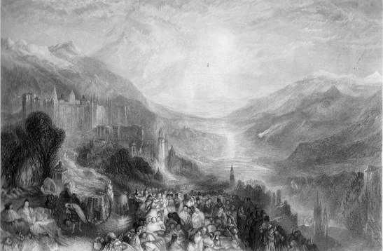 Thomas Abel Prior after J M W Turner Heidelberg Steel engraving, image size, 174 x 262 mm Published 1859-61 as one of a series of sixty posthumous engravings called 'The Turner Gallery'. The plate is titled 'Heidelberg', but the accompanying description calls it 'Heidelberg in the Olden Time'. All the early commentators found the topography problematic.