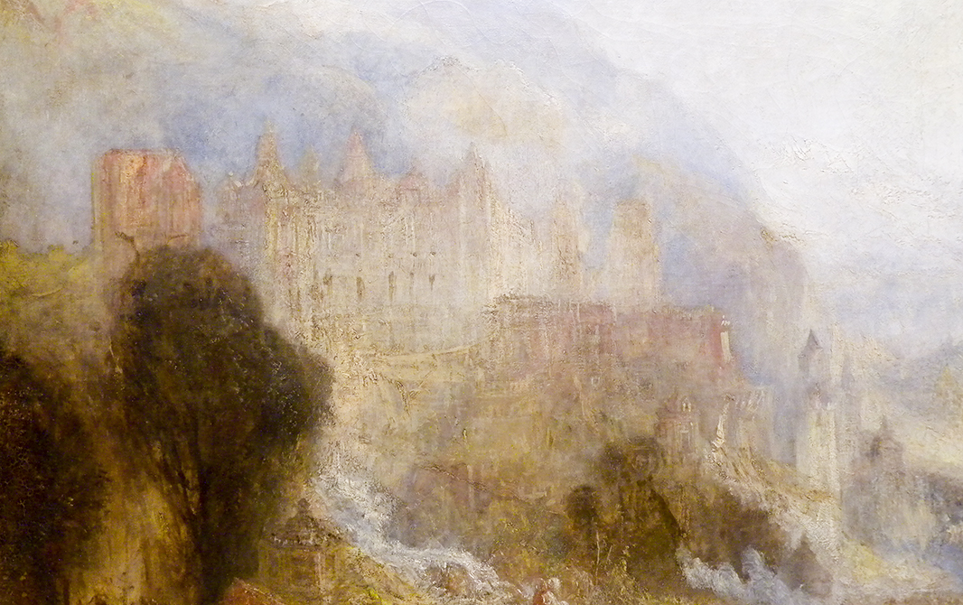 J M W Turner A Castle in an Alpine Valley, called 'Heidelberg', c.1842, detail of castle, left side Oil on canvas, 52 × 79 ½ ins (132 × 201 cms) Tate, London, N00518 Photograph by David Hill, courtesy of Tate