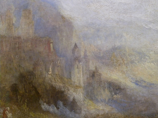 J M W Turner A Castle in an Alpine Valley, called 'Heidelberg', c.1842, detail of handling, centre left (1)  Oil on canvas, 52 × 79 ½ ins (132 × 201 cms) Tate, London, N00518 Photograph by David Hill, courtesy of Tate