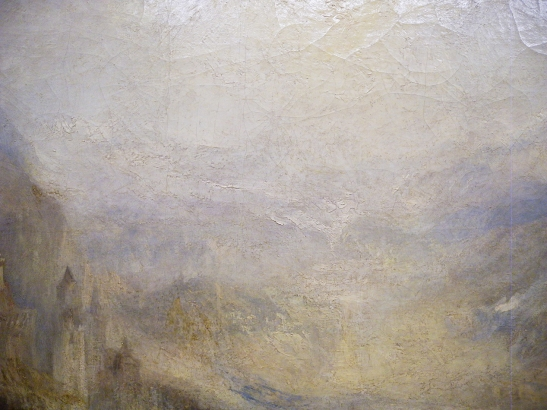 J M W Turner A Castle in an Alpine Valley, called 'Heidelberg', c.1842, detail of handling, centre left (2)  Oil on canvas, 52 × 79 ½ ins (132 × 201 cms) Tate, London, N00518 Photograph by David Hill, courtesy of Tate
