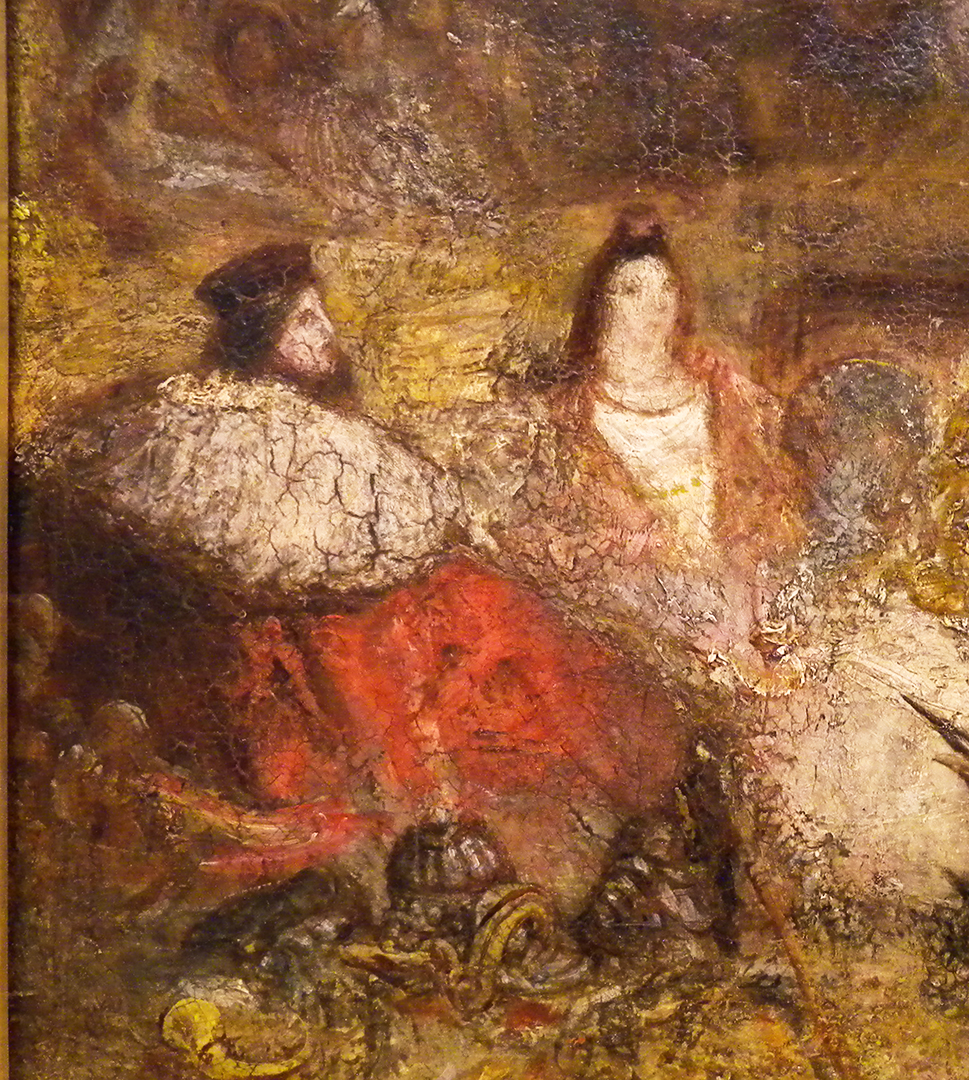 J M W Turner A Castle in an Alpine Valley, called 'Heidelberg', c.1842, detail of Royal Couple, bottom left Oil on canvas, 52 × 79 ½ ins (132 × 201 cms) Tate, London, N00518 Photograph by David Hill, courtesy of Tate These are usually identified as Frederick V and his bride Elizabeth Stuart, daughter of James ! of England, who were married in 1613 and lived at Heidelberg. If so one might expect Turner to have researched their likenesses, but there are no comparisons that I can find. The male figure seems an earlier type, more of the generation of Henry VII or Francis 1 of France.