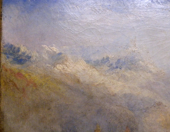 J M W Turner A Castle in an Alpine Valley, called 'Heidelberg', c.1842, detail of snow-capped mountains, upper left Oil on canvas, 52 × 79 ½ ins (132 × 201 cms) Tate, London, N00518 Photograph by David Hill, courtesy of Tate These peaks are more like 3000m + mountains of the Alps.
