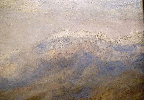 J M W Turner A Castle in an Alpine Valley, called 'Heidelberg', c.1842, detail of snow-capped mountains, upper right Oil on canvas, 52 × 79 ½ ins (132 × 201 cms) Tate, London, N00518 Photograph by David Hill, courtesy of Tate