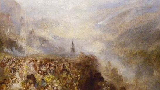 J M W Turner A Castle in an Alpine Valley, called 'Heidelberg', c.1842, detail of town and valley centre and lower right Oil on canvas, 52 × 79 ½ ins (132 × 201 cms) Tate, London, N00518 Photograph by David Hill, courtesy of Tate If Heidelberg, where is the bridge, let alone anything recognisable of the town?