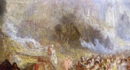 J M W Turner A Castle in an Alpine Valley, called 'Heidelberg', c.1842, detail of tumbling water  Oil on canvas, 52 × 79 ½ ins (132 × 201 cms) Tate, London, N00518 Photograph by David Hill, courtesy of Tate