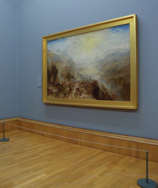 J M W Turner A Castle in an Alpine Valley, called 'Heidelberg', c.1842 Oil on canvas, 52 × 79 ½ ins (132 × 201 cms) Tate, London, N00518 Photograph by David Hill, courtesy of Tate As displayed, 3 September 2015