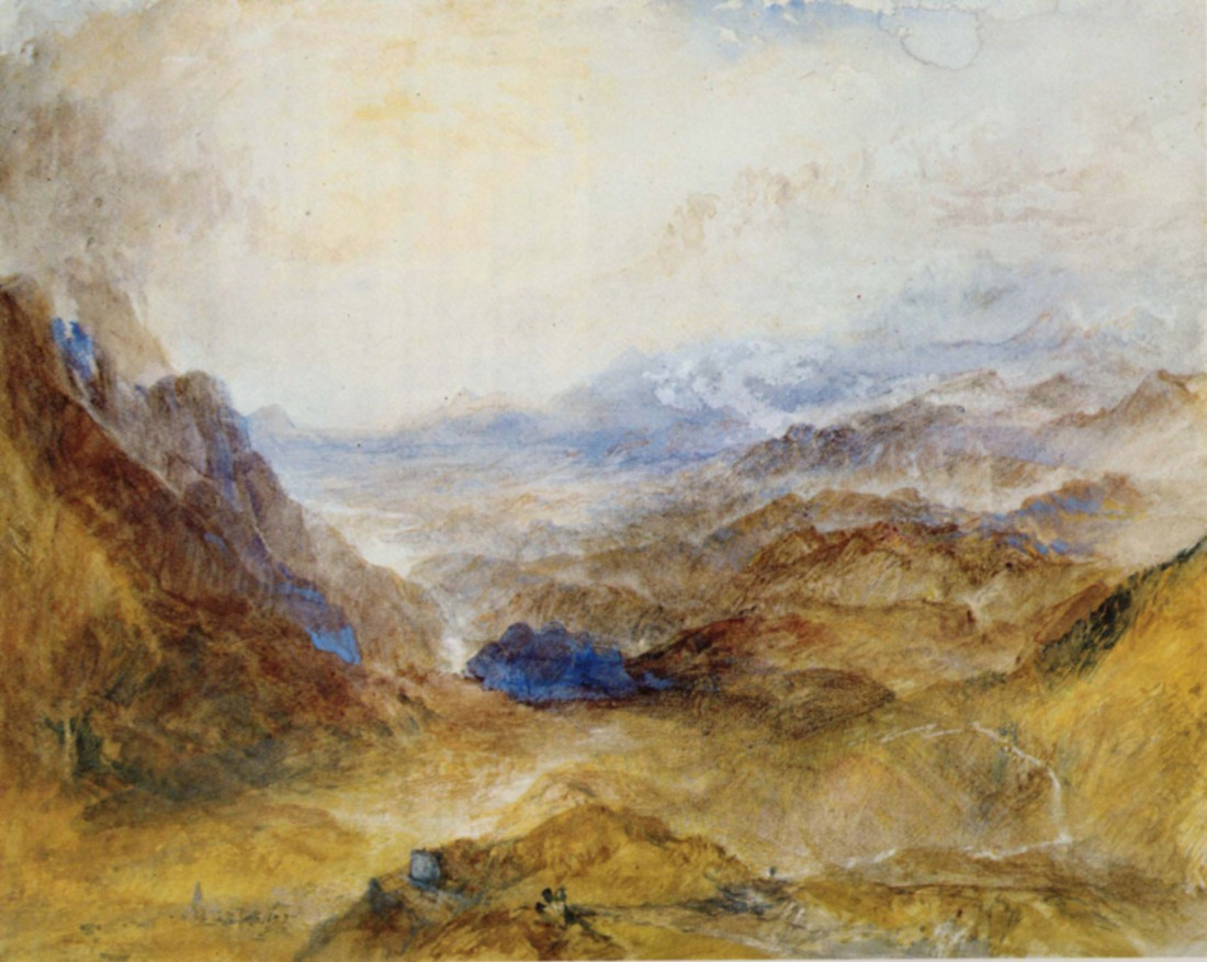 J M W Turner The Ascent of the Mont Cenis Pass above Susa, 1836 Watercolour, 222 x 280 mm Christie's 30 June 1981 no.126 as 'View along an Alpine Valley, probably the Val d'Aosta'. Image courtesy of Christie's Identified in Turner, Mont Blanc and the Val d'Aosta, 2000, p.241 as the view over Susa towards Turin from above the church of Giaglione. The general forms of the landscape compare more closely with Turner's painting, than do those of Heidelberg.
