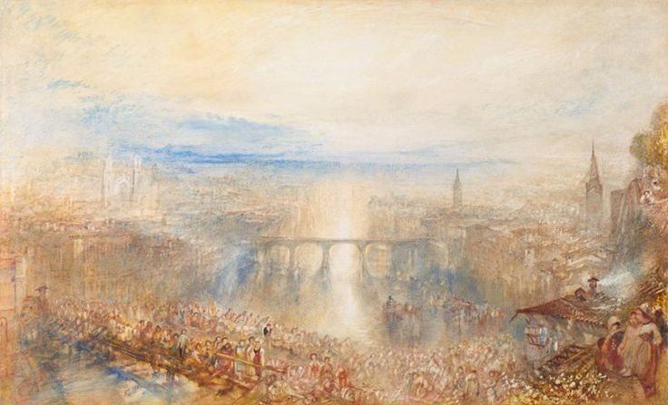 J M W Turner Zurich: fete, early morning, c.1845 Watercolour, 292 x 475mm, 11 1/2 x 18 3/4 ins Switzerland, Zurich, Kunsthaus  (1976/14) Photograph courtesy of Kunsthaus, Zurich The crowd in this watercolour is often compared to that in the painting of 'Heidelberg'.