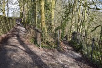 "Church Brow, Kirkby Lonsdale; the path to the spring Photograph by David Hill, taken 26 March 2016, 11.10 GMT ""…a little bye footpath on the right descending steeply through the woods to a spring among the rocks of the shore.."""