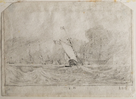 Memorandum of Turner's painting 'Van Tromp's Shallop, at the Entrance of the Scheldt' exhibited at the Royal Academy in 1832 Graphite on paper, 95 x 133 mm Inscribed: By Cotman in graphite in lower margin: 'S.H.' and '206' Provenance: The Hannan collection (see notes) to the International Art Centre, 272 Parnell Road, Auckland, New Zealand, Collectable Art, 23 February, 2016, lot 147: John Sell Cotman 1782 - 1842 - Seven drawings - Coastal Scenes, Pencil on paper 3.0 x 9.0, Signed & dated (date illegible), repr, est. $NZ 500 - 1,000, sold for NZ$700; Photograph by David Hill