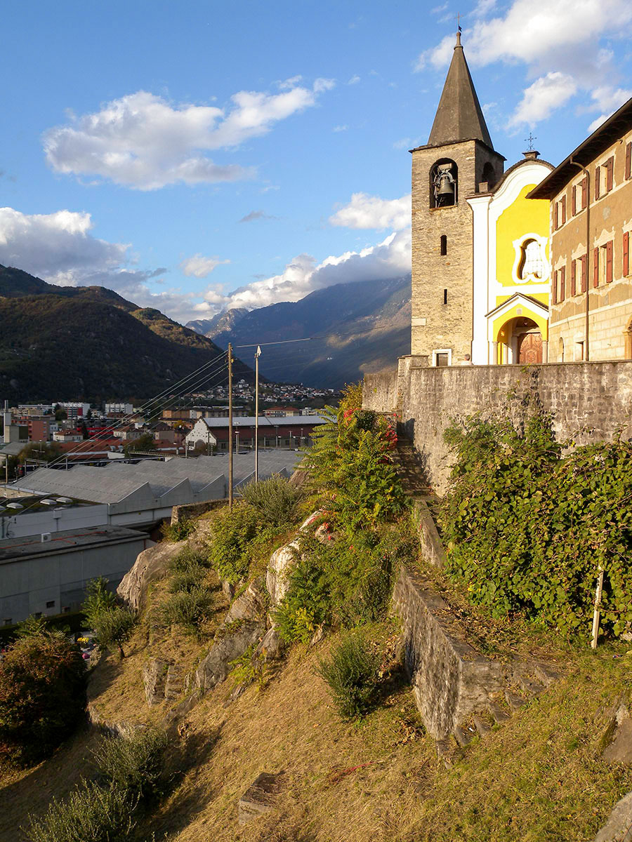 The Church of San Quirico above Bellinzona, looking north towards the St Gotthard Pass Photograph by David Hill, 2 November 2012, 15.36