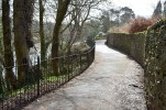"Fence on Church Brow, Kirkby Lonsdale Photograph by David Hill, taken 25 March 2016, 11.31 GMT ""..Well, the population of Kirkby cannot, it appears, in consequence of their recent civilization, any more walk, in summer afternoons, along the brow of this bank, without a fence...."""