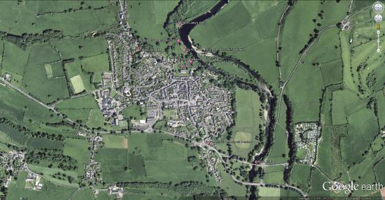 Google Earth Aerial view of Kirkby Lonsdale Placemarks indicate the principal sites discussed in the article.