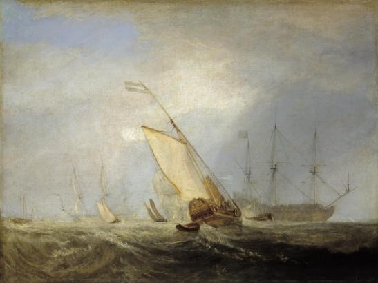 J M W Turner Van Tromp's Shallop, at the Entrance of the Scheldt, exhibited at the Royal Academy, 1832, no.206 Oil on canvas, 90.5 x 120.6 cm Tate Britain, London, N00537, Turner Bequest, 1856 as 'Van Tromp Returning after the Battle off the Dogger Bank', exhibited 1833. Turner exhibited several 'Van Tromp' subjects, and there has been some confusion as to which is which. Cotman's sketch confirms for the first time that the painting at the Tate can be identified with the 1832 exhibit. Image courtesy of TATE. To see the picture and cataloguing in Tate's own website, click on the following link, and then use your browser's 'back' button to return to this site. http://www.tate.org.uk/art/artworks/turner-van-tromp-returning-after-the-battle-off-the-dogger-bank-n00537