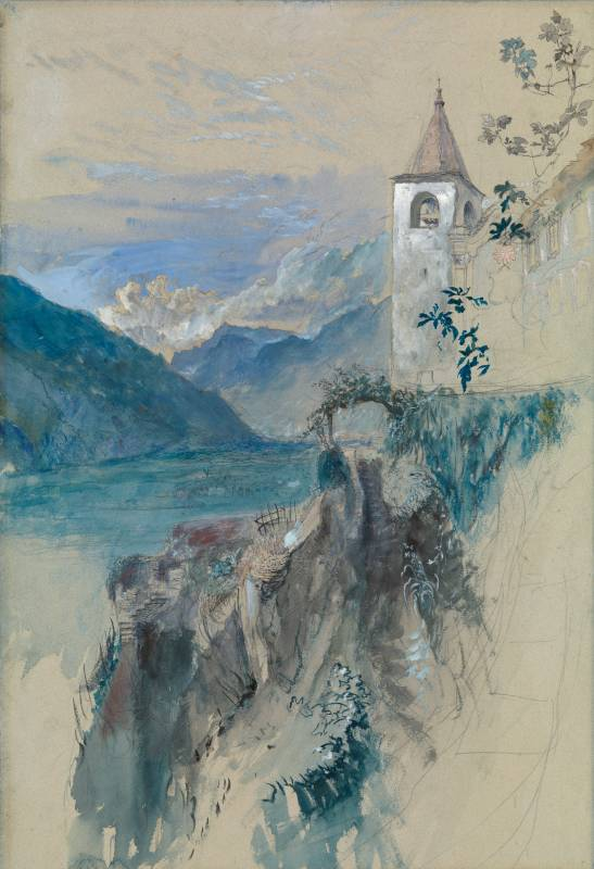 John Ruskin The Church of San Quirico at Daro above Bellinzona, Switzerland, looking north towards the St Gotthard Pass. Called Cure's Garden at Bellinzona, 1858 Pencil, watercolour and bodycolour on light blue tinted paper, 20 1/2 x 14 ins, 520 x 355 mm See SublimeSites.co, 29 September 2014, for discussion of the exact viewpoint. Image courtesy of Lowell Libson. To see the full catalogue entry on Lowell Libson's website click on the following link, and use you browser's 'back' button to return to this page: http://www.lowell-libson.com/pictures/bellinzona-switzerland-looking-towards-the-st-gotthard-pass