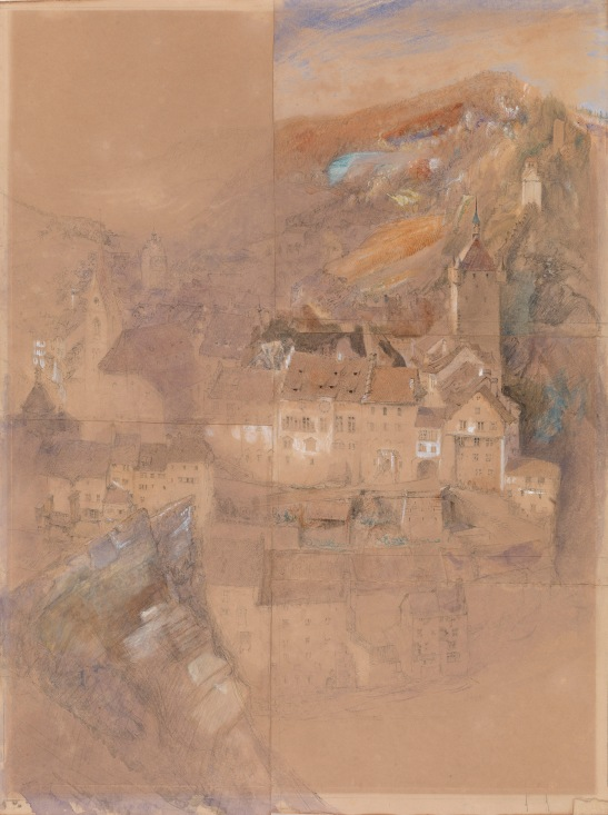 John Ruskin Baden, Switzerland, 1863 Pencil and watercolour on five sheets of paper, 517 x 380 mm Exhibited by Lowell Libson at TEFAF, Maastrich, 11-20 March 2016 Image courtesy of Lowell Libson. To see the full catalogue entry on Lowell Libson's website click on the following link, and use you browser's 'back' button to return to this page: http://www.lowell-libson.com/pictures/baden-switzerland