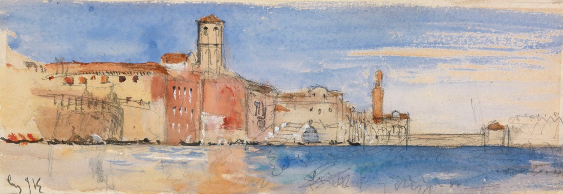 John Ruskin The Fondamenta Nuove, Venice, 1877 Pencil and watercolour 90 x 265 mm Exhibited by Lowell Libson at TEFAF, Maastrich, 11-20 March 2016 Image courtesy of Lowell Libson. To see the full catalogue entry on Lowell Libson's website click on the following link, and use you browser's 'back' button to return to this page: http://www.lowell-libson.com/pictures/john-ruskin