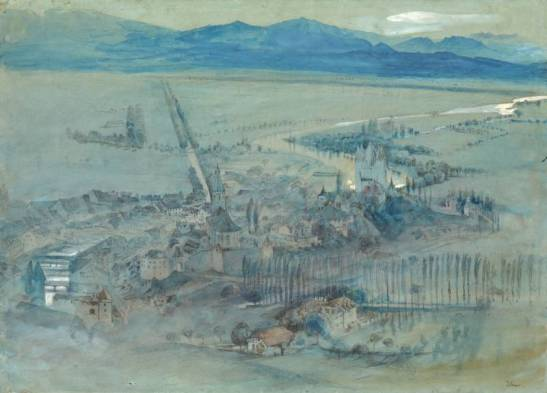 John Ruskin View of Thun, 1854 Pencil and watercolour 336 x 470 mm Exhibited by Lowell Libson at TEFAF, Maastrich, 11-20 March 2016 Image courtesy of Lowell Libson. To see the full catalogue entry on Lowell Libson's website click on the following link, and use you browser's 'back' button to return to this page: http://www.lowell-libson.com/pictures/view-of-thun