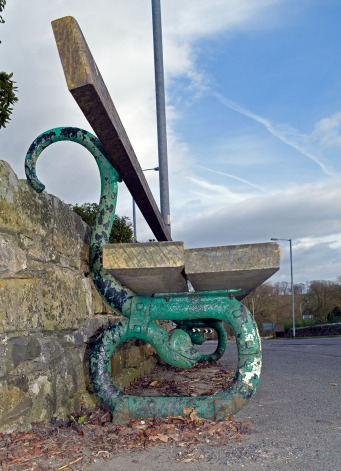 Serpent bench at Kirkby Lonsdale Photograph by David Hill, taken 21 March 2016, 17.04 GMT Resited today overlooking the A65, near the junction with Main Street.