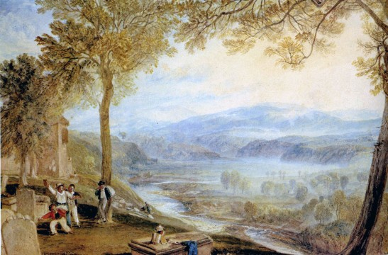 J.M.W.Turner The Lune Valley from Kirkby Lonsdale Churchyard, c.1818 Watercolour, 286 x 415 mm Private Collection ex Bonhams London 26 January 2012, lot 12 (sold for £217,250) Image, David Hill. To see the image in Bonhams online catalogue click on the following link, then use your browser's 'back' button to return to this page: https://www.bonhams.com/auctions/19571/lot/12/ Ruskin knew of the view from the engraving of this watercolour that was published in Turner's 'History of Richmondshire' in 1822, but the view was already feted by others, including William Wordsworth in his Guide to the Lakes published in 1810. It is not clear when it was decided to call it 'Ruskin's View', but it was still known as Turner's view well into the twentieth century.