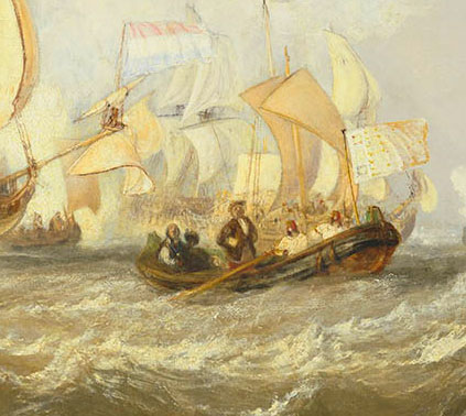 J M W Turner Van Tromp Returning after the Battle off the Dogger Bank', exhibited at the Royal Academy, 1833 – detail of figure standing in foreground boat) Oil on canvas, 88.9 x 119.4 cm Wadsworth Athenaeum, Museum of Art, Hartford, Connecticut, USA