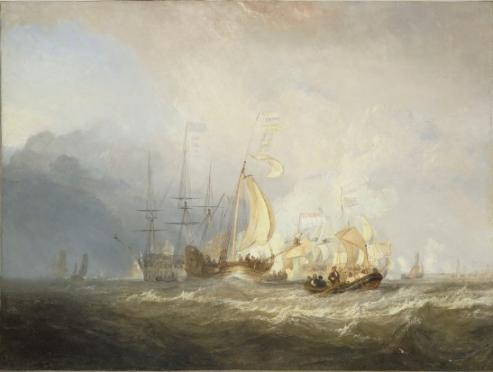 J M W Turner Van Tromp Returning after the Battle off the Dogger Bank', exhibited at the Royal Academy, 1833 Oil on canvas, 88.9 x 119.4 cm Wadsworth Athenaeum, Museum of Art, Hartford, Connecticut, USA, 1951.233, as 'Van Tromp's Shallop, at the Entrance of the Scheldt, exhibited at the Royal Academy, 1832 (The Ella Gallup Sumner and Mary Catlin Sumner Collection Fund, Endowed by Mr. and Mrs. William Lidgerwood). Turner exhibited several 'Van Tromp' subjects, and there has been some confusion as to which is which. In the light of the identification of Cotman's sketch, this can now be identified as the 1833 exhibit. Image courtesy of Wadsworth Athenaeum. To see the picture and cataloguing on the Wadsworth Athenaeum's own website, click on the following link, and then use your browser's 'back' button to return to this site. http://argus.wadsworthatheneum.org/Wadsworth_Atheneum_ArgusNet/Portal/public.aspx?lang=en-US