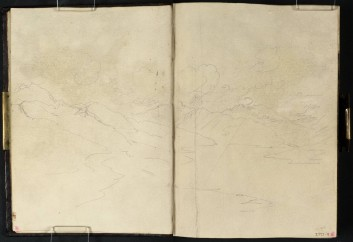J M W Turner Loch Lomond from above Tarbet, 1801 Pencil on paper, 149 x 218 mm (page size, 149 x 109 mm) from the 'Tummel Bridge' sketchbook, Tate, London, D03286-87, Turner Bequest TB LVII 5a-6 as 'View across Loch Lomond from near Inversnaid' Image courtesy of Tate. To see the image in the Tate's own online catalogue, click on the following link, and then use your browser's 'back' button to return to this page: http://www.tate.org.uk/art/artworks/turner-view-across-loch-lomond-from-near-inversnaid-d03287 Clouds are gathering on the hills to the right, and shafts of light are breaking through.