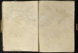 J M W Turner Head of Loch Long from Arrochar, 1801 Pencil on paper, 149 x 218 mm (page size, 149 x 109 mm) from the 'Tummel Bridge' sketchbook, Tate, London, D03288-89, Turner Bequest TB LVII 6a-7 as 'A Cloudy Sky above a Mountain Valley' Image courtesy of Tate. To see the image in the Tate's own online catalogue, click on the following link, and then use your browser's 'back' button to return to this page: http://www.tate.org.uk/art/artworks/turner-a-cloudy-sky-above-a-mountain-valley-d03289 The clear conditions of Loch Lomond are giving way to increasing cloud.