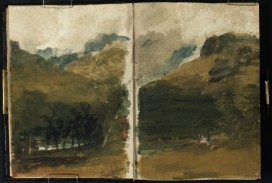 J M W Turner Towards Beinn Narnain from Gen Loin above Arrochar, 1801 Pencil on paper, 149 x 218 mm (page size, 149 x 109 mm) from the 'Tummel Bridge' sketchbook, Tate, London, D03290-91, Turner Bequest TB LVII 7a-8 as 'Loch Long seen through Trees, with Ben Arthur Rising into Clouds Above' and 'Figures on a Field with Woods and Hills Beyond, with Mountains Rising into Clouds' Image courtesy of Tate. To see the image in the Tate's own online catalogue, click on the following link, and then use your browser's 'back' button to return to this page: http://www.tate.org.uk/art/artworks/turner-a-cloudy-sky-above-a-mountain-valley-d03289 This wants confirmation but looks to be a view towards the high peaks of Beinn Narnain from the Glen Loin above Arrochar. Clouds are streaming off the upper slopes.