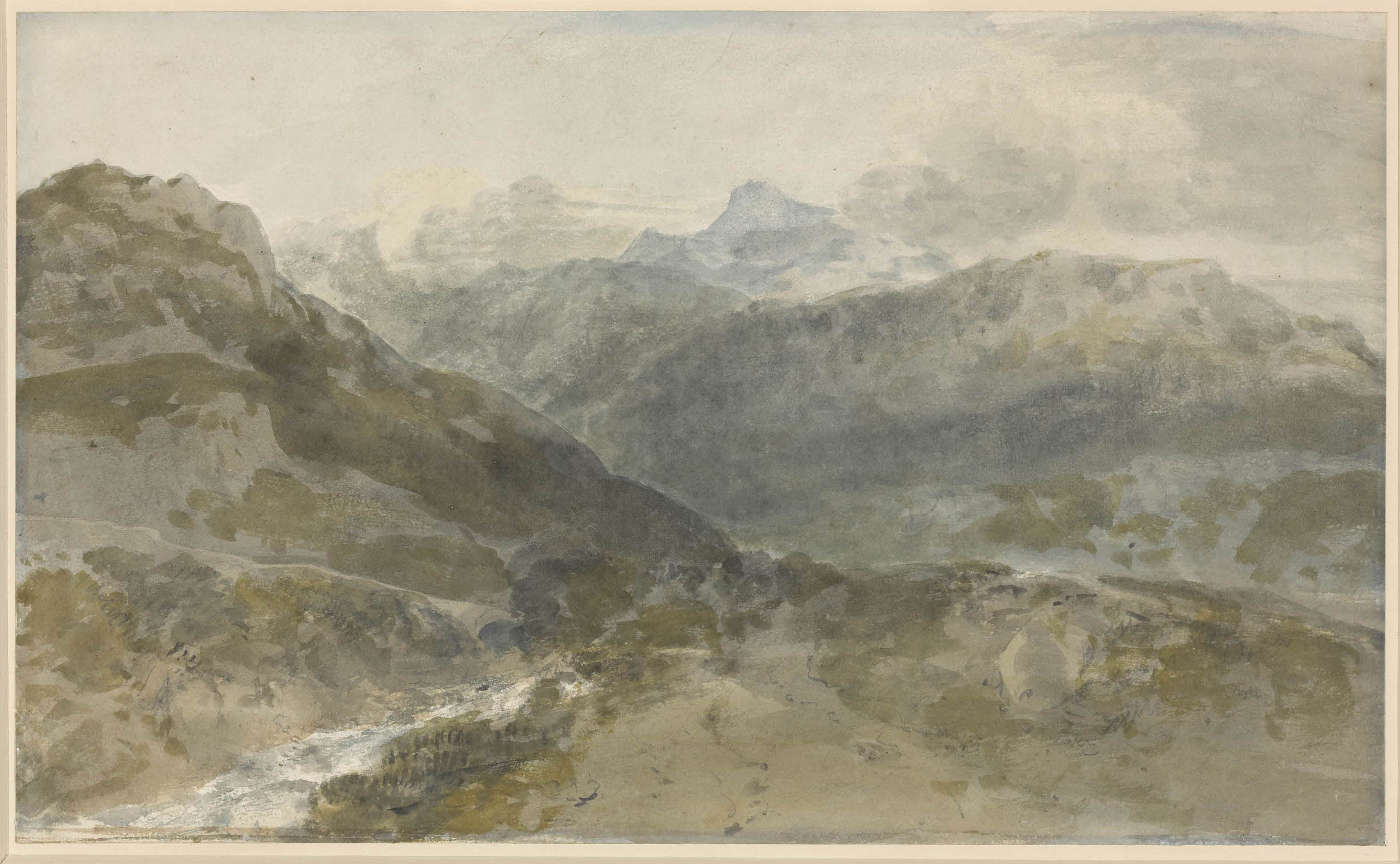 J M W Turner Ben Arthur from the entrance to Glen Croe above Ardgartan, 1801 Watercolour, 247 x 418 mm British Museum, London, R.W.Lloyd Bequest, 1958-7-12-405 as 'Mountain Study: a view in North Wales?' Image courtesy of The British Museum. To see the image in the British Museum's own online catalogue, click on the following link, and then use your browser's 'back' button to return to this page: http://www.britishmuseum.org/research/collection_online/collection_object_details.aspx?objectId=748939&partId=1&searchText=turner+welsh+mountain&page=1