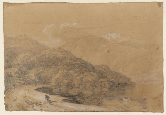 J M W Turner Rubha Mor on Loch Lomond, with Ben Lomond in the distance, 1801 Chalk, Pencil and watercolour on paper, 297 x 429 mm. Tate, London, D03426., Turner Bequest TB LVIII 47 as 'A Wooded Bay with Mountains Beyond, Perhaps Loch Lomond at Inveruglas' Image courtesy of Tate. To see the image in the Tate's own online catalogue, click on the following link, and then use your browser's 'back' button to return to this page: http://www.tate.org.uk/art/artworks/turner-a-wooded-bay-with-mountains-beyond-perhaps-loch-lomond-at-inveruglas-d03426