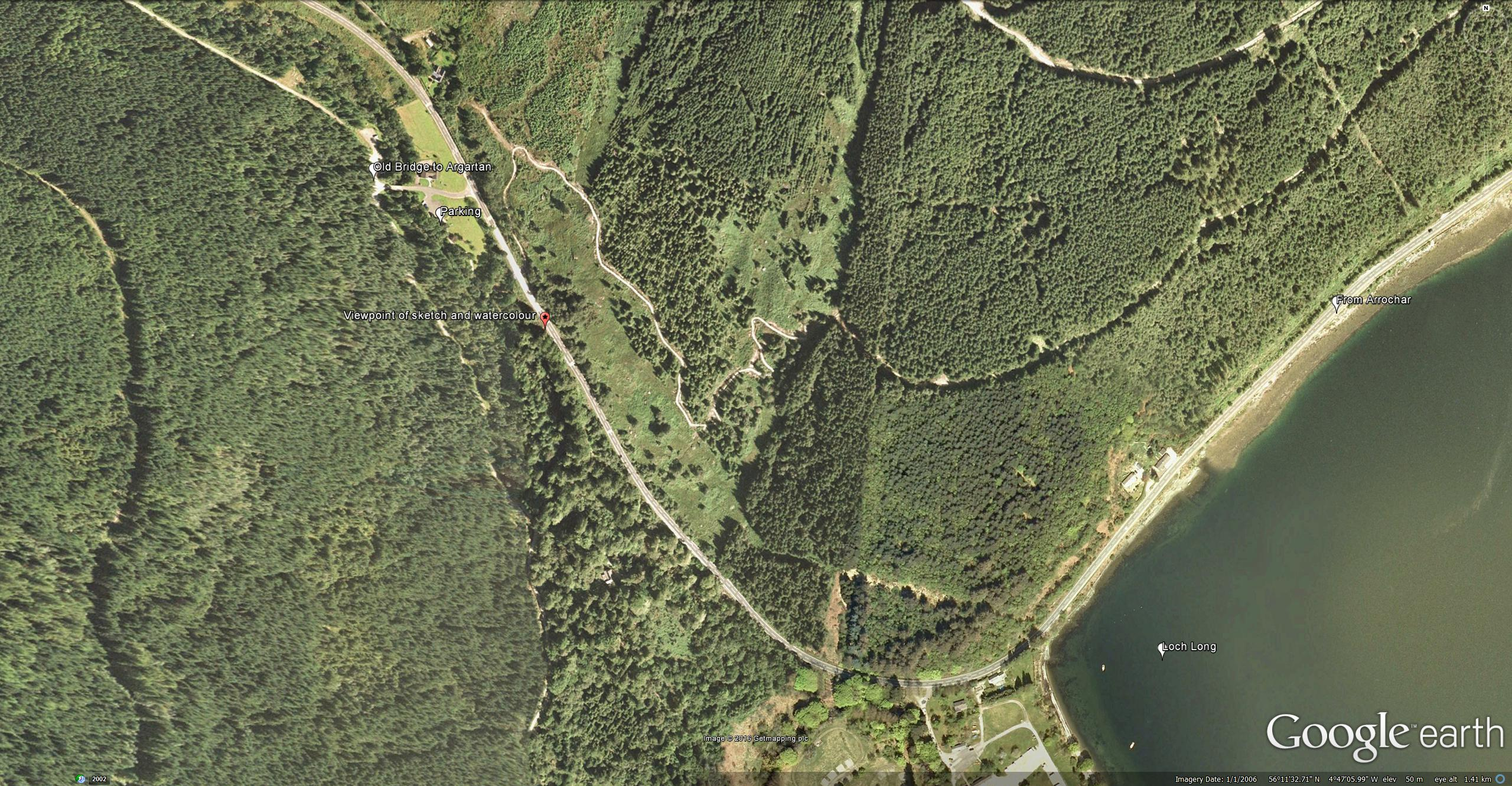 Google Earth Aerial View of Loch Long and Ardgartan. Detail of Turner's viewpoint and nearby parking.